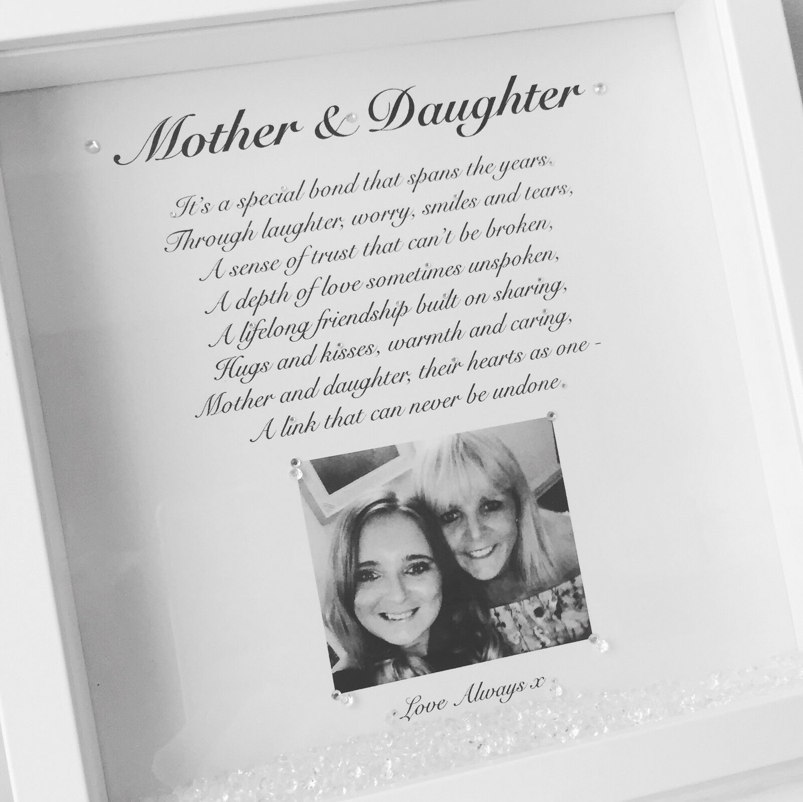 MOTHERS DAY MUM And Daughter Diamanté Quote Photo Personalised Box ...