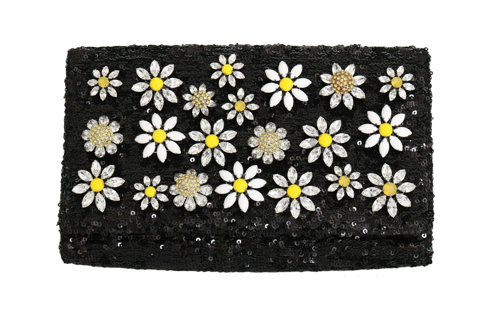 36a7191a1c9 NEW  3700 DOLCE   GABBANA Bag ANNA Purse Black Sequined Daisy Crystal  Clutch 1 of 12Only 2 available ...