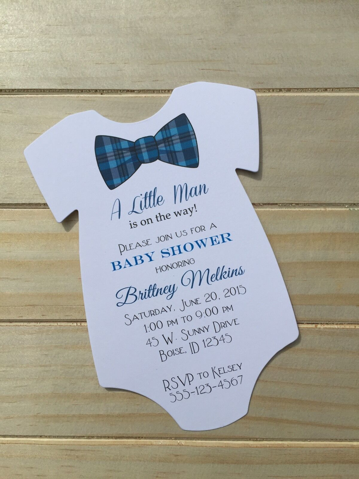 Set Of 10 Boy Baby Shower Invitations For Boy Blue Plaid Bow Tie