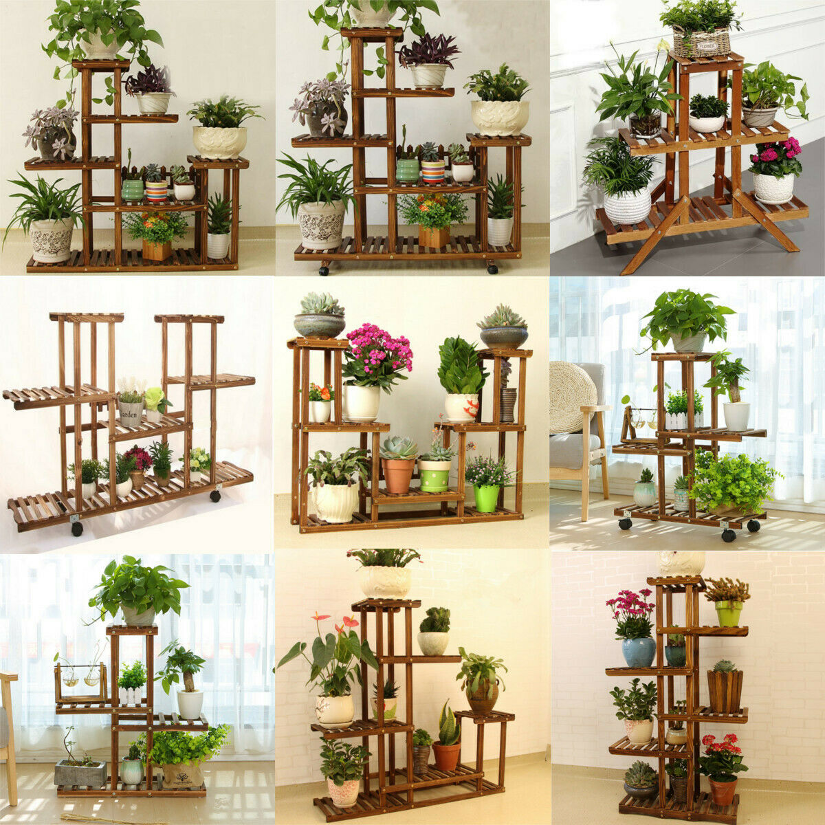 5 tag re plante fleur porte pots support jardin pr sentoir en bois bonsa eur 43 99. Black Bedroom Furniture Sets. Home Design Ideas
