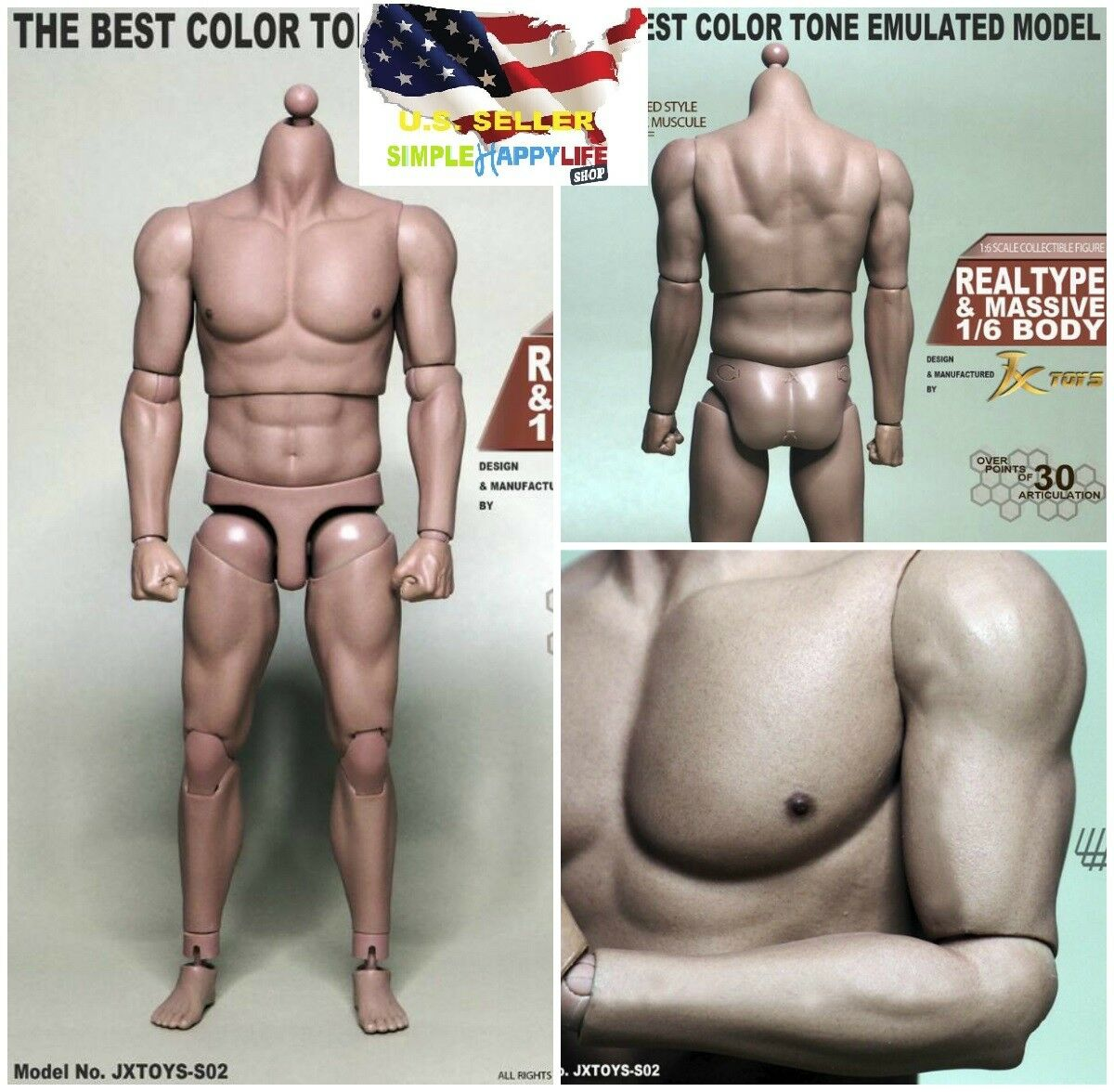 16 Scale Male Strong Muscular Body Jxtoys S02 For Ganghood 12