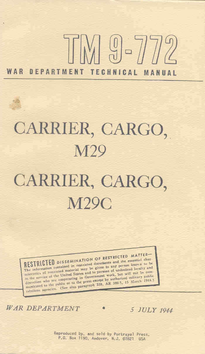 studebaker m29 m29c weasel cargo carriers manual 1945 version army rh  picclick co uk