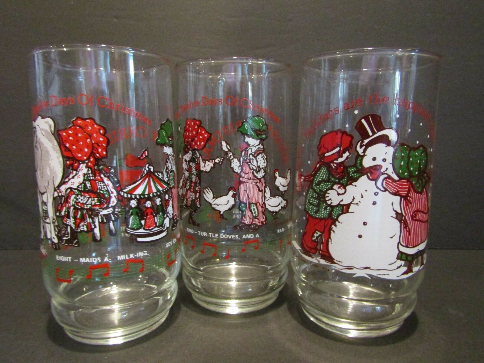 holly hobbie and robbycoca cola12 days of christmasglasses1979