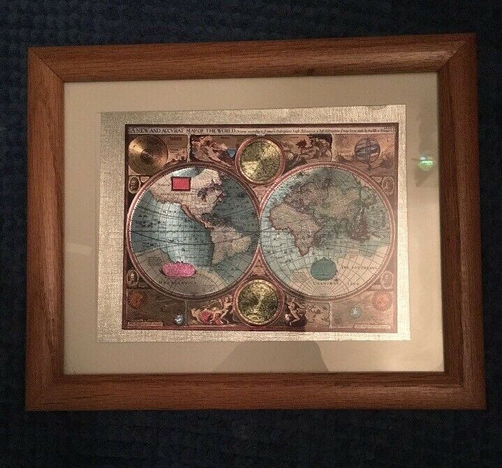 A NEW AND Accvrat Map Of The World, Foiled World Map, Framed ...