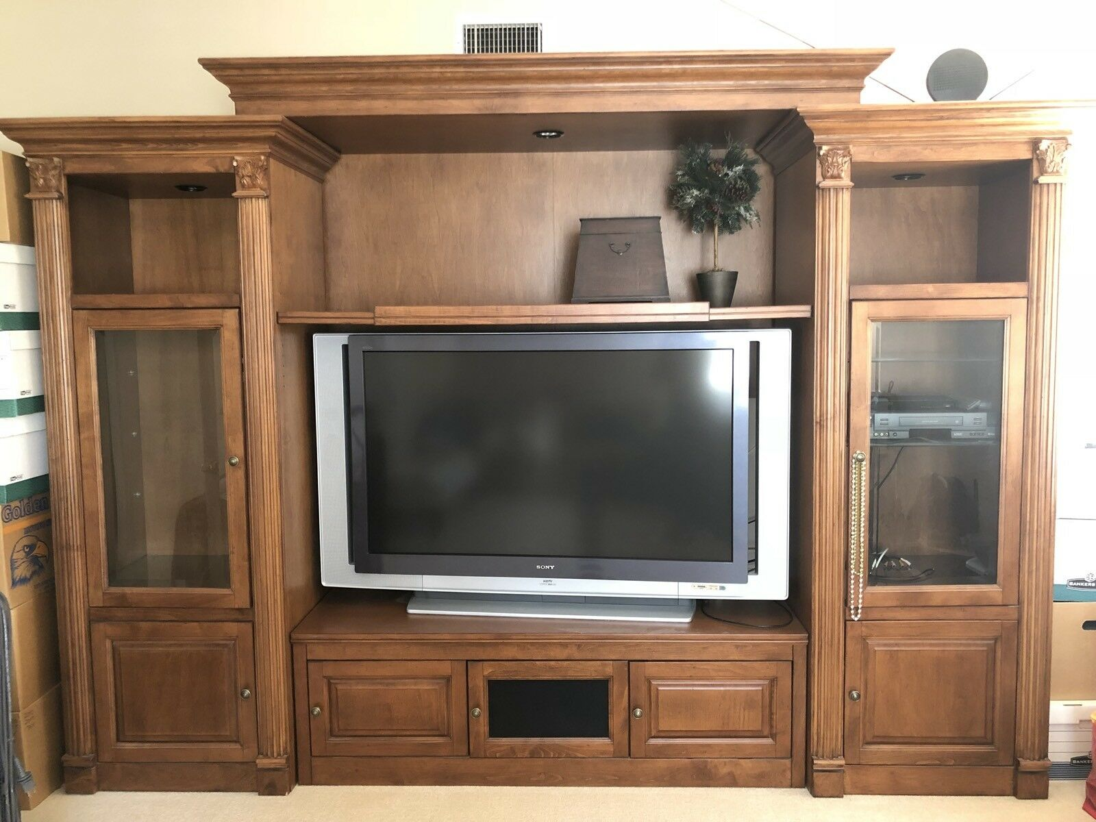 Modern TV Credenza With Stereo Shelves, Lights, Glass Doors And Speaker  Cabinets 1 Of 11Only 1 Available ...