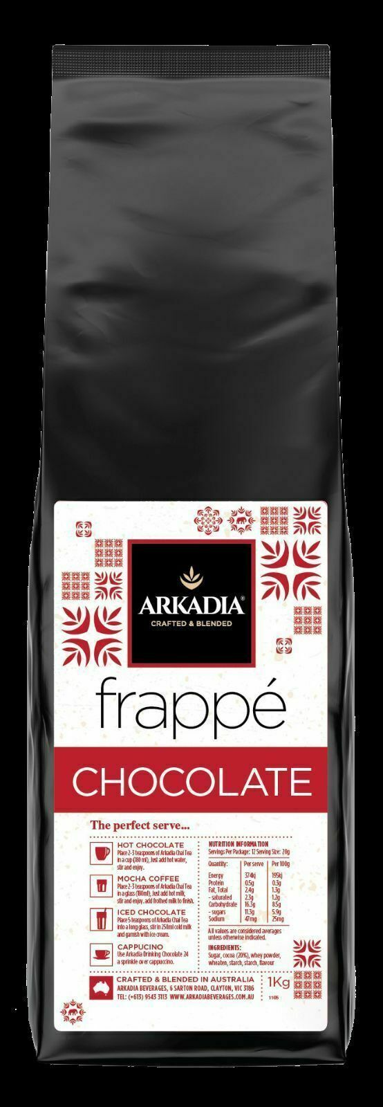 Arkadia Frappe Chocolate smoothie 1kg frappe mix chocolate smoothie recipe