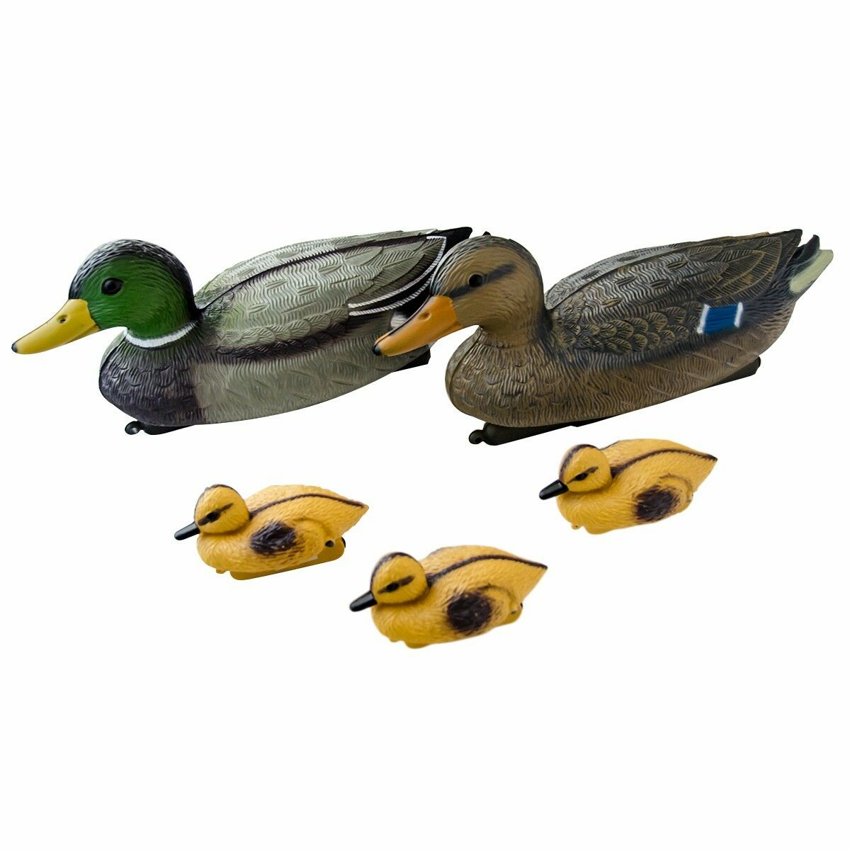 Floating Lifesize Mallard Ducks & Ducklings Decoys For Fish / Koi Ponds