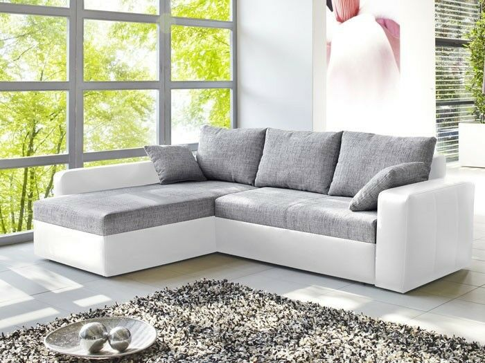 ecksofa vida 244x174cm grau wei couch sofa polsterecke schlafsofa bettkasten eur 544 00. Black Bedroom Furniture Sets. Home Design Ideas