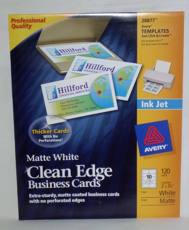 Avery 28877 clean edge matte white ink jet white business cards 120 1 of 2free shipping solutioingenieria Choice Image