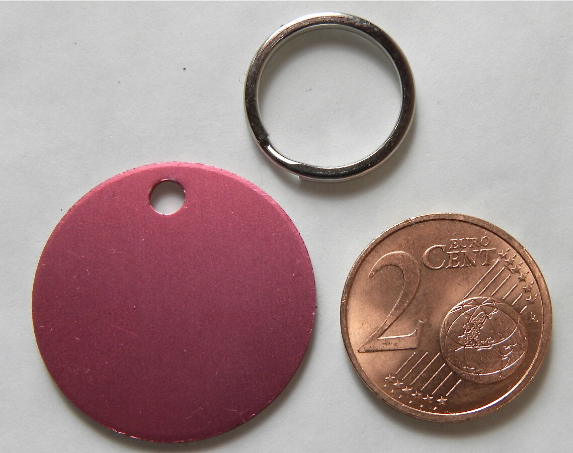 MEDAILLE GRAVEE RONDE ROSE CHIEN CHAT CHATON collier medalla hund petit modele
