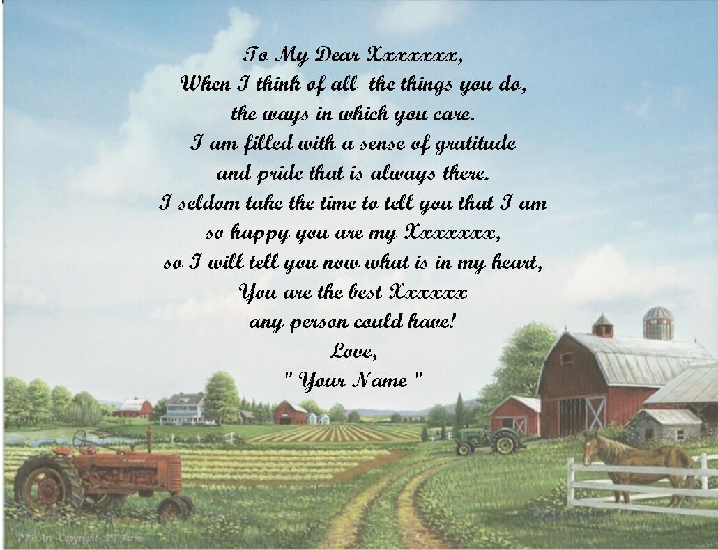 Farm Scene Personalized Poem Gift 4 Fathers Day,Mothers ...