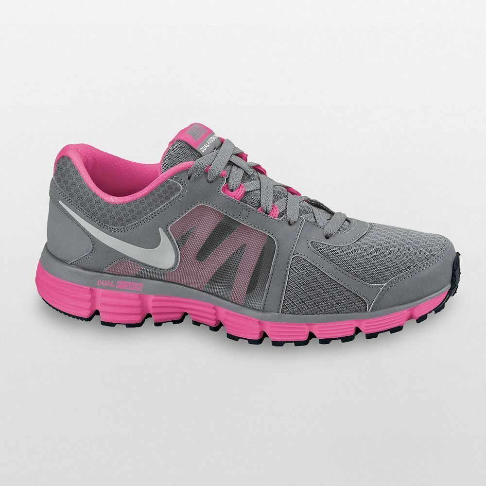 nike dual fusion st 2 s running shoes grey pink all