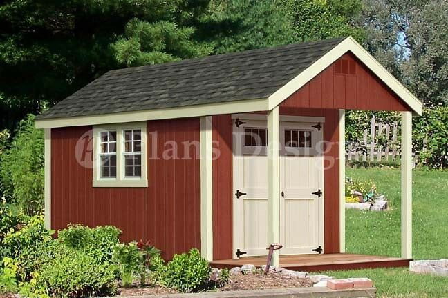 14' x 8' Cabin Shed with Porch Plans Blueprint #P61408, Free Material