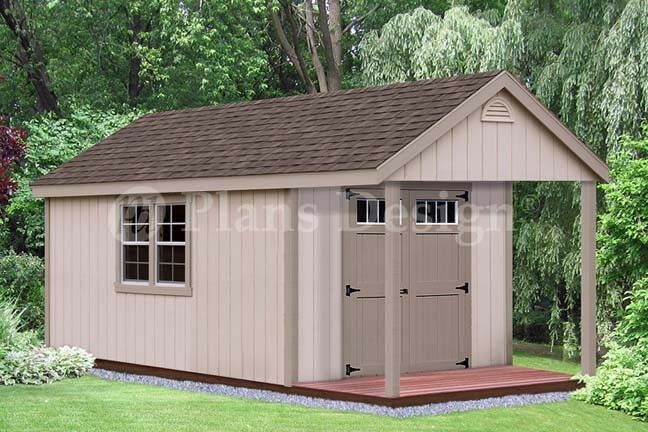 16 39 x 10 39 cabin pool house shed with porch plans p61610 for Pool house shed plans