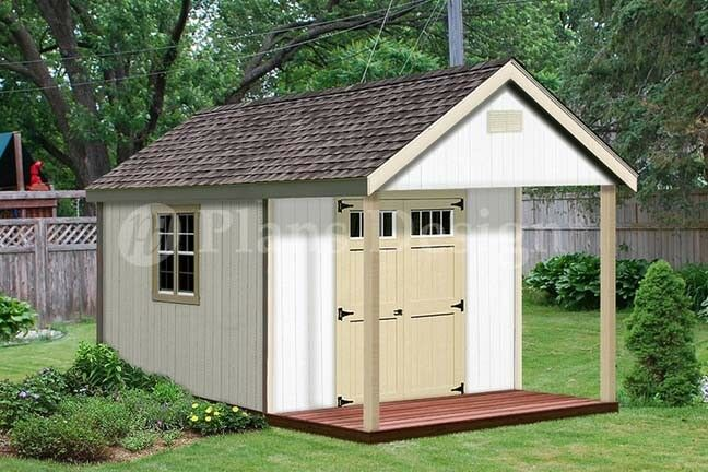 16 39 x 12 39 cabin shed covered porch plans plueprint p61612 for Shed with covered porch