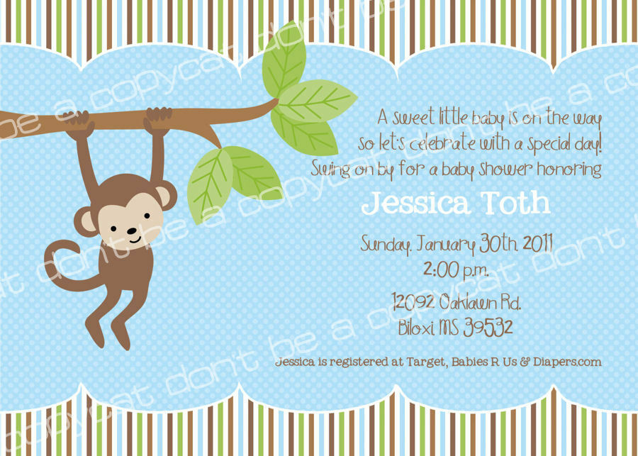 monkey baby shower 1st birthday party invitations personalized