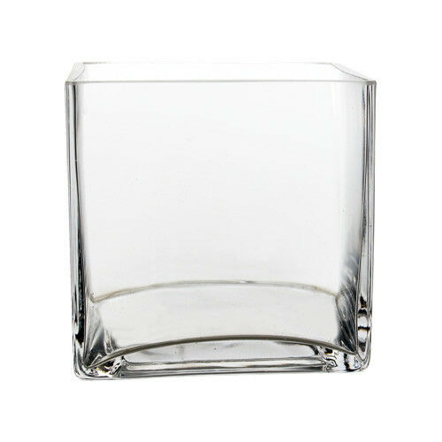 Clear Square Cube Glass Vase H 4 Open 4x4 Wedding Wholesale Home