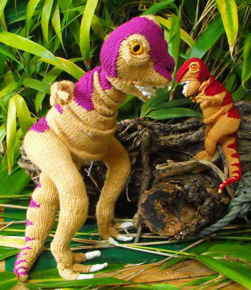 Baby Dinosaur Knitting Pattern : Printed Knitting Pattern Mother & Baby Tyrannosaurus T Rex Toy Dinosaur A...