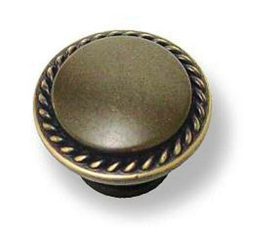 P-2715 Braided Rope Edge Knob In A Dark Bronze With Antique English Highlights