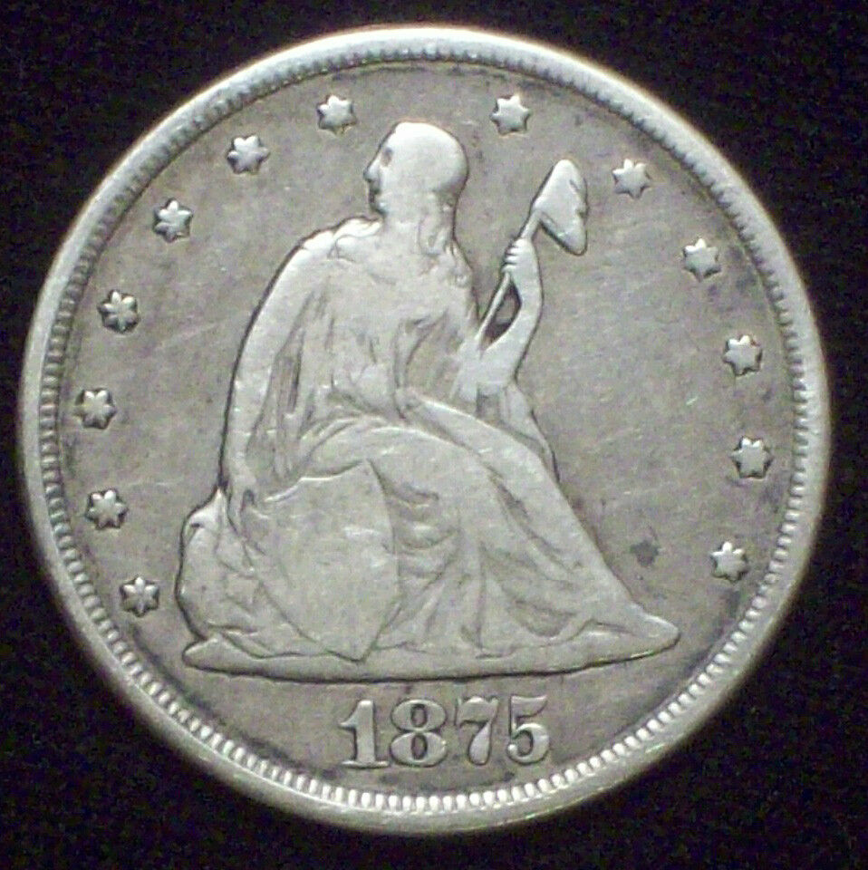 1875 CC 20 Twenty Cent Piece Seated Liberty *RARE* SILVER F+ DETAIL Carson City!