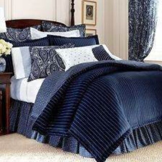 New Ralph Lauren Chaps Allistair King Comforter Navy Blue