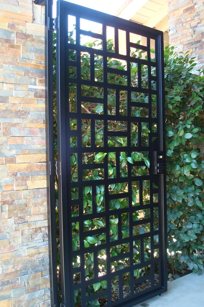 Contemporary Metal Gate Pedestrian Walk Thru Wrought Iron