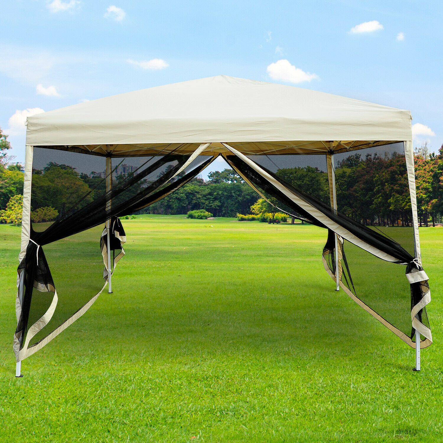 Delicieux 10u0027x10u0027 Outdoor Pop Up Party Tent Patio Gazebo Canopy Mosquito Net Shade  Tan 1 Of 10FREE Shipping See More