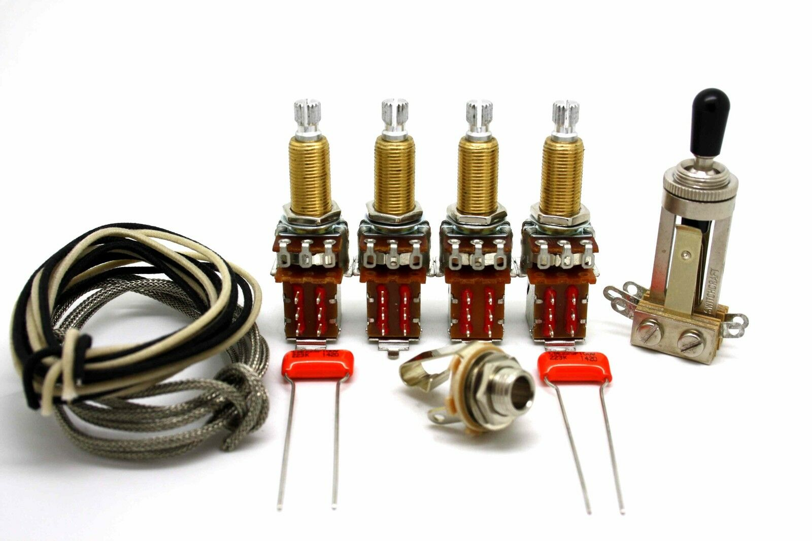 Deluxe Vintage Wiring Kit Push Pull Long Shaft Jimmy Page For Gibson A Les Paul 1 Sur 1seulement 4 Disponibles Voir Plus