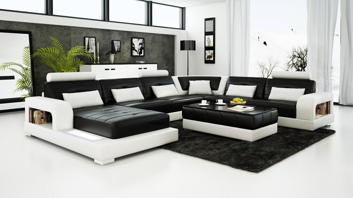 Modern Large Leather Sofa Corner Suite New Rrp 5499 Black 1 Picclick Uk