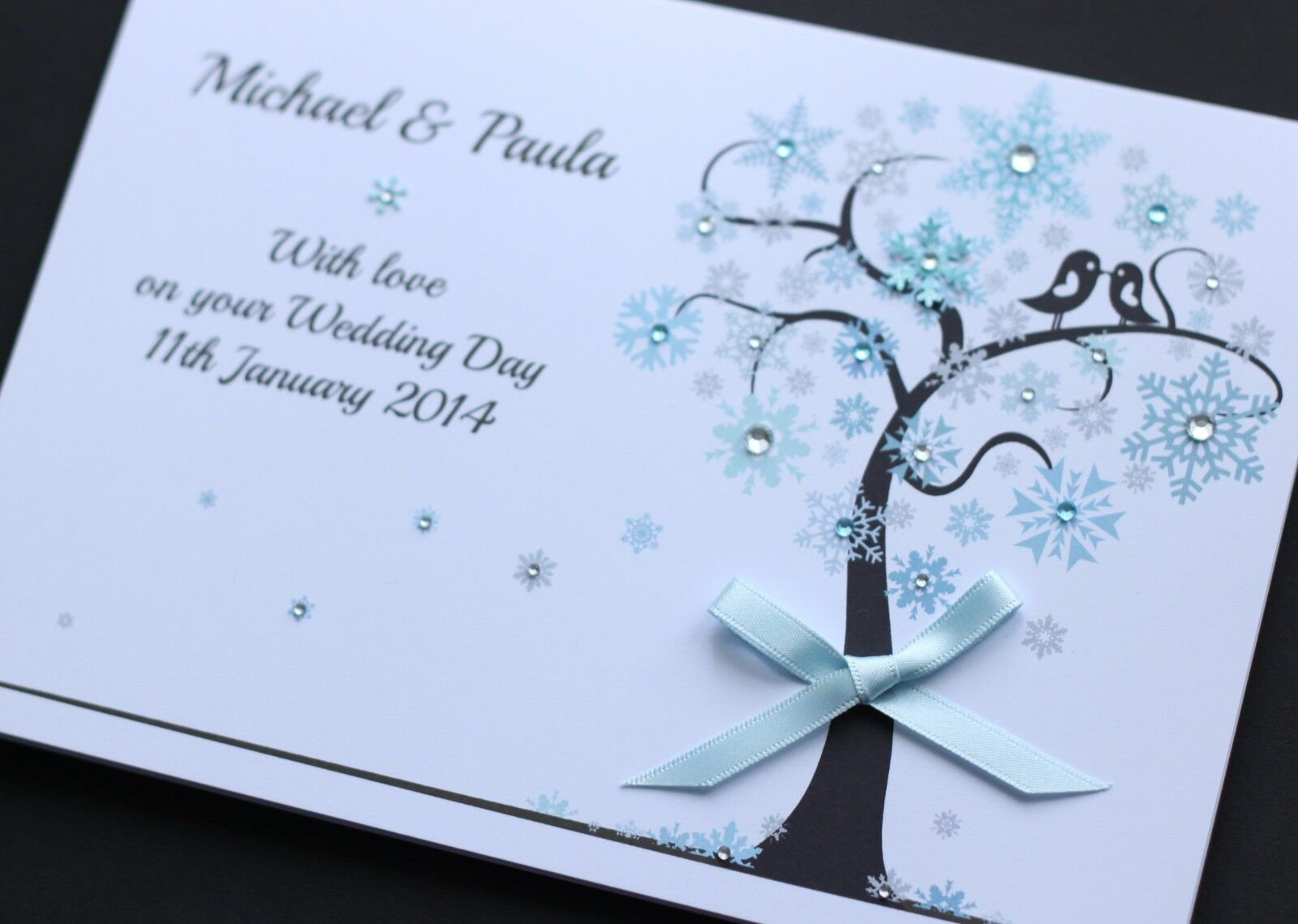 LARGE Handmade Personalised WINTER WEDDING Congratulations Card O GBP495