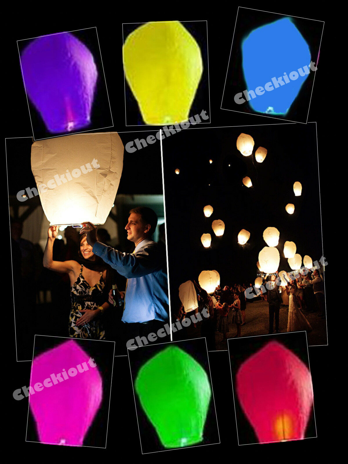20X MIX COLORS Paper Chinese Sky Lanterns Fly Candle Lamp Wishing ...