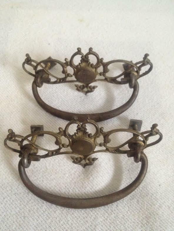 2 Vintage Antique Brass Scrolled Door Cabinet Drawer Pull Nice !!