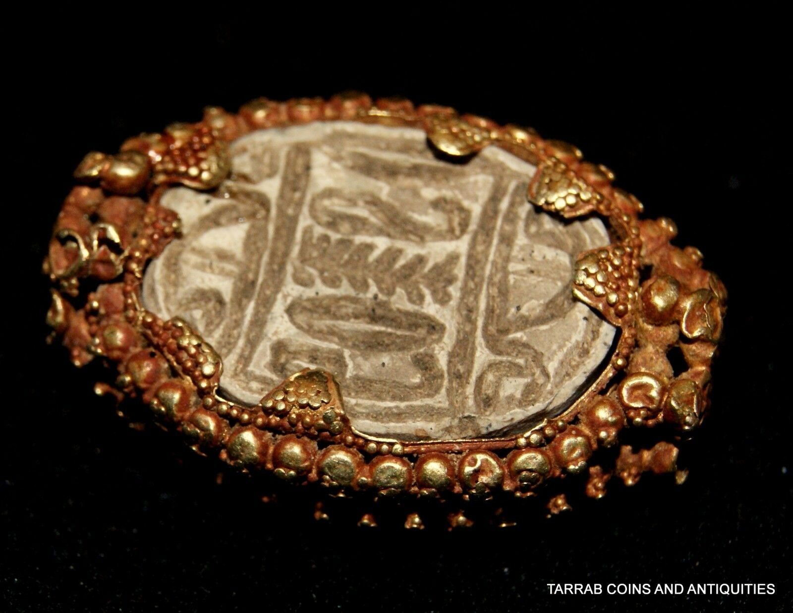 Ancient Egyptian Steatite Scarab In A Canaanite Gold Bezel Probably From A Ring!