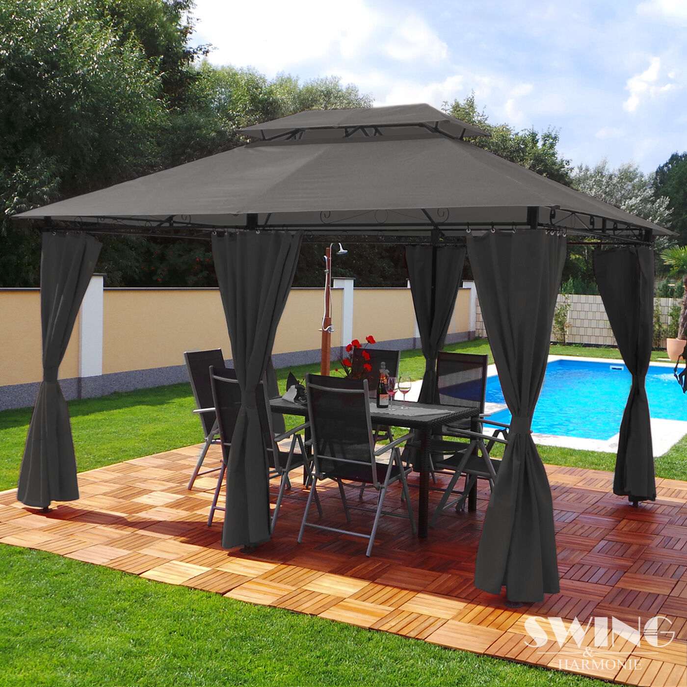 luxus pavillon 3x4m garten pavilon gartenm bel pavillion partyzelt gartenzelt eur 199 00. Black Bedroom Furniture Sets. Home Design Ideas