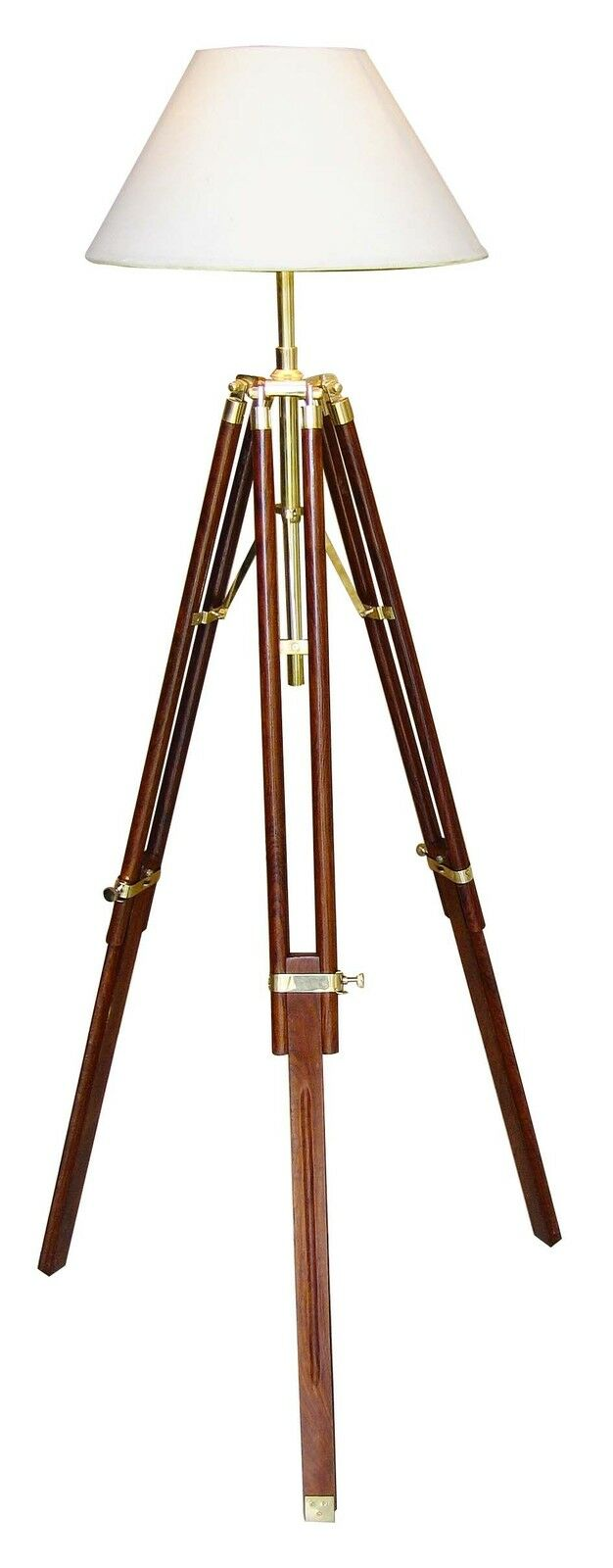 stehlampe kolonialstil tripod dreibein stativ holz messing 146 cm schirm 35 cm eur 158 95. Black Bedroom Furniture Sets. Home Design Ideas