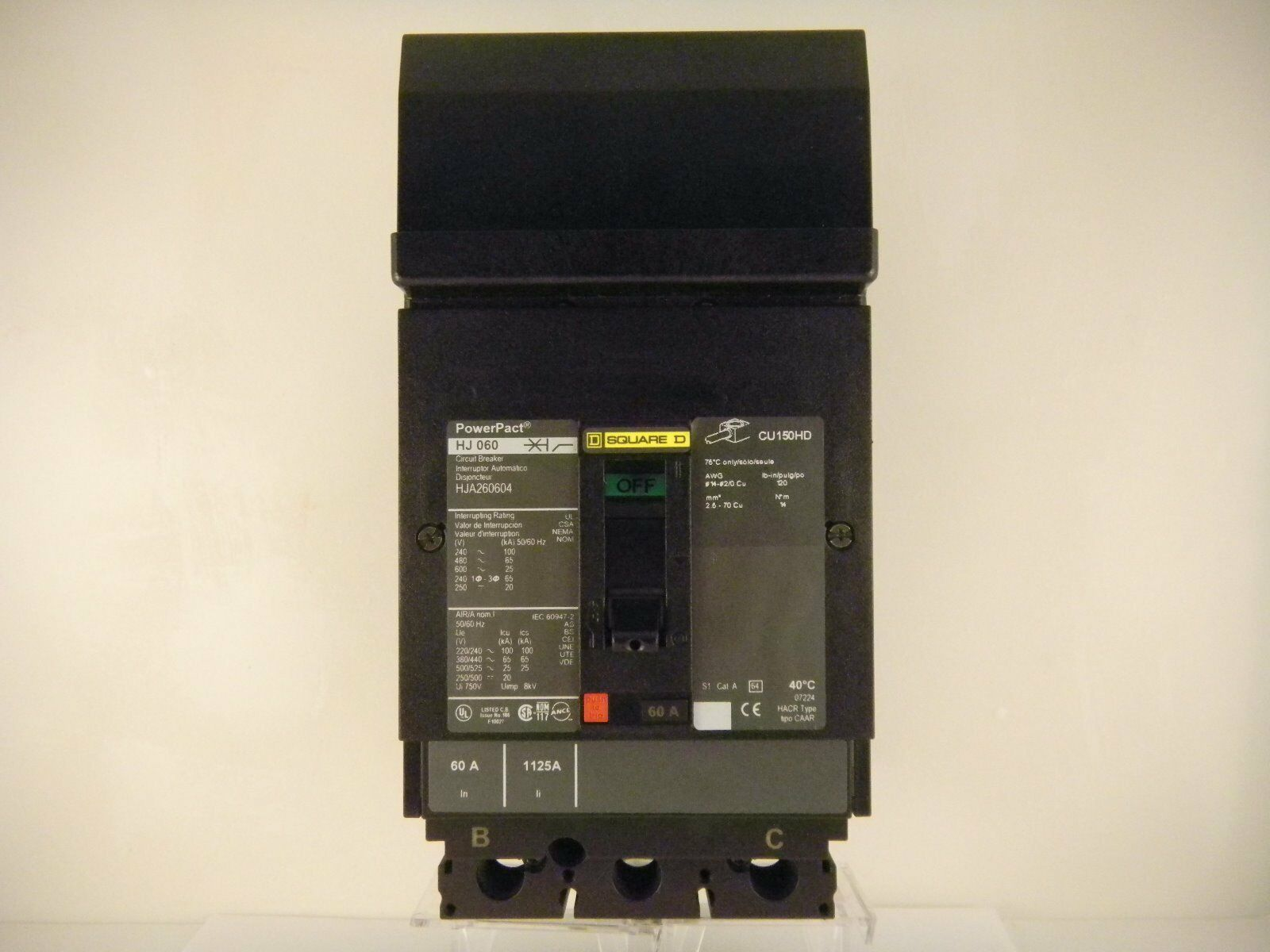 Square D Powerpact Circuit Breaker 2 Pole 60amp Hja260604 19999 Homeline 15amp 1pole Combination Arc Fault 1 Of 8only Available