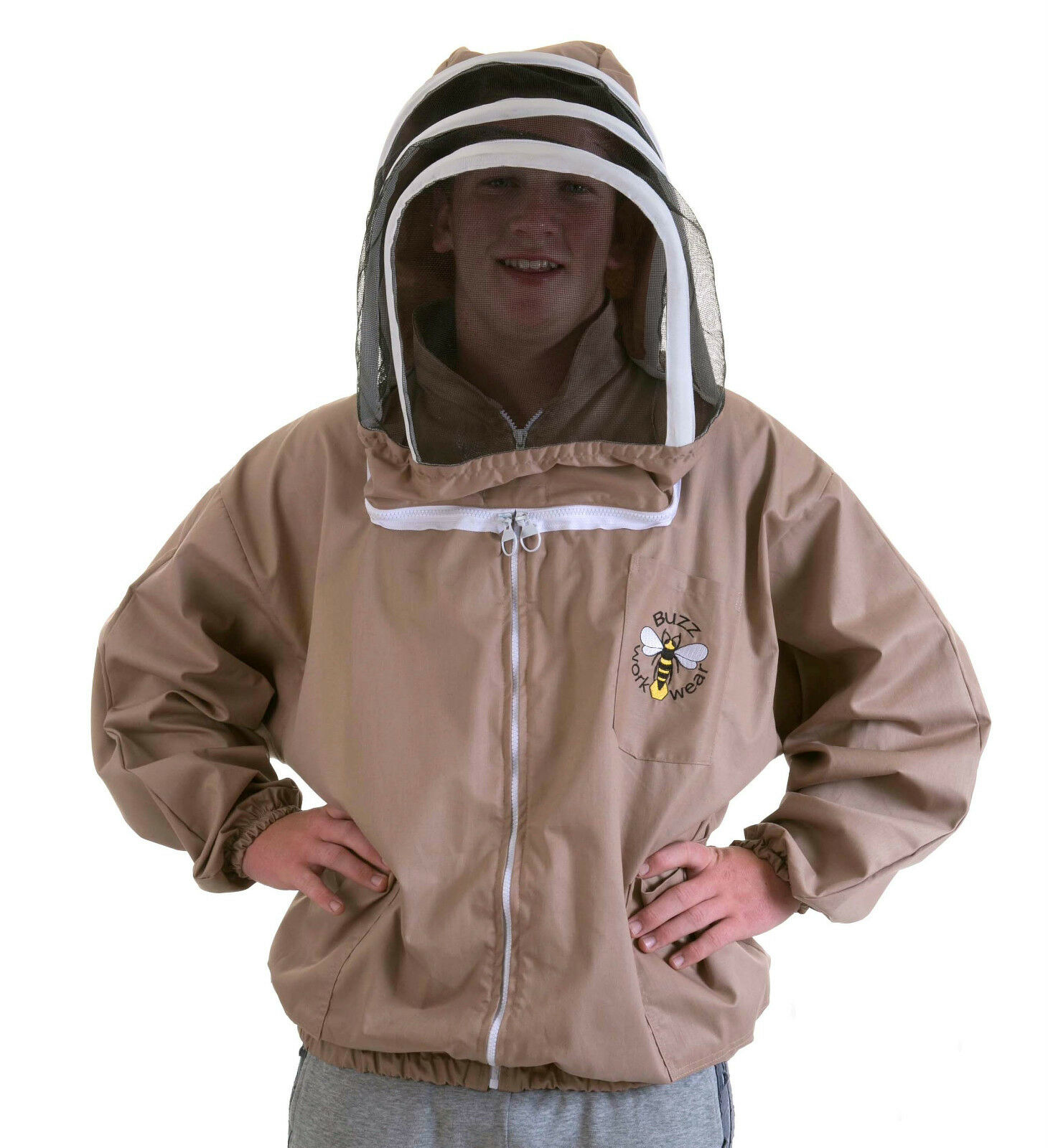 BUZZ Beekeepers BEE JACKET, Cappuccino with fencing hood. Size: 4XL
