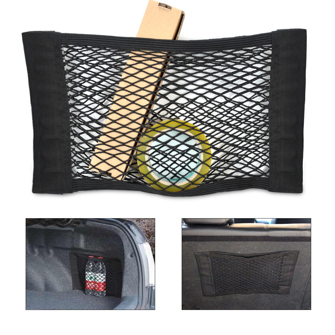 universal car truck seat rear pocket storage organizer nylon net bag w magic tap aud. Black Bedroom Furniture Sets. Home Design Ideas
