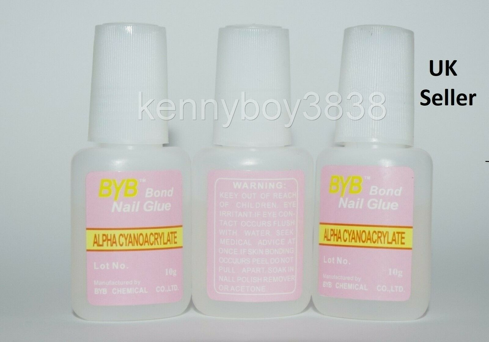 3X10G NAIL ART GLUE STRONG ADHESIVE WITH BRUSH USE ON FAKE FALSE ...