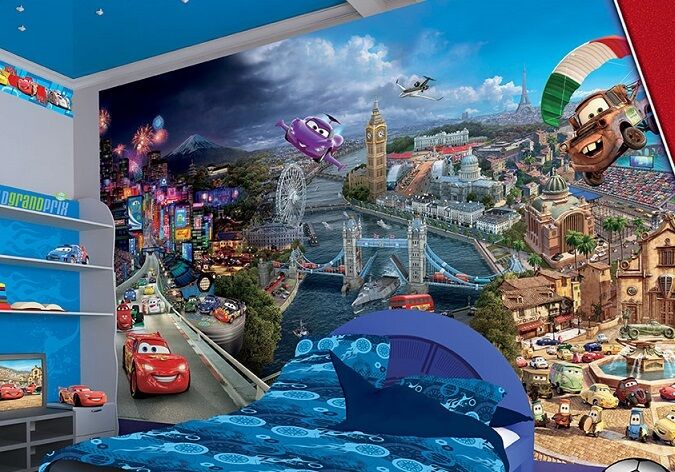 Large wall mural photo wallpaper for boy 39 s room cars for Disney cars wall mural full wall huge