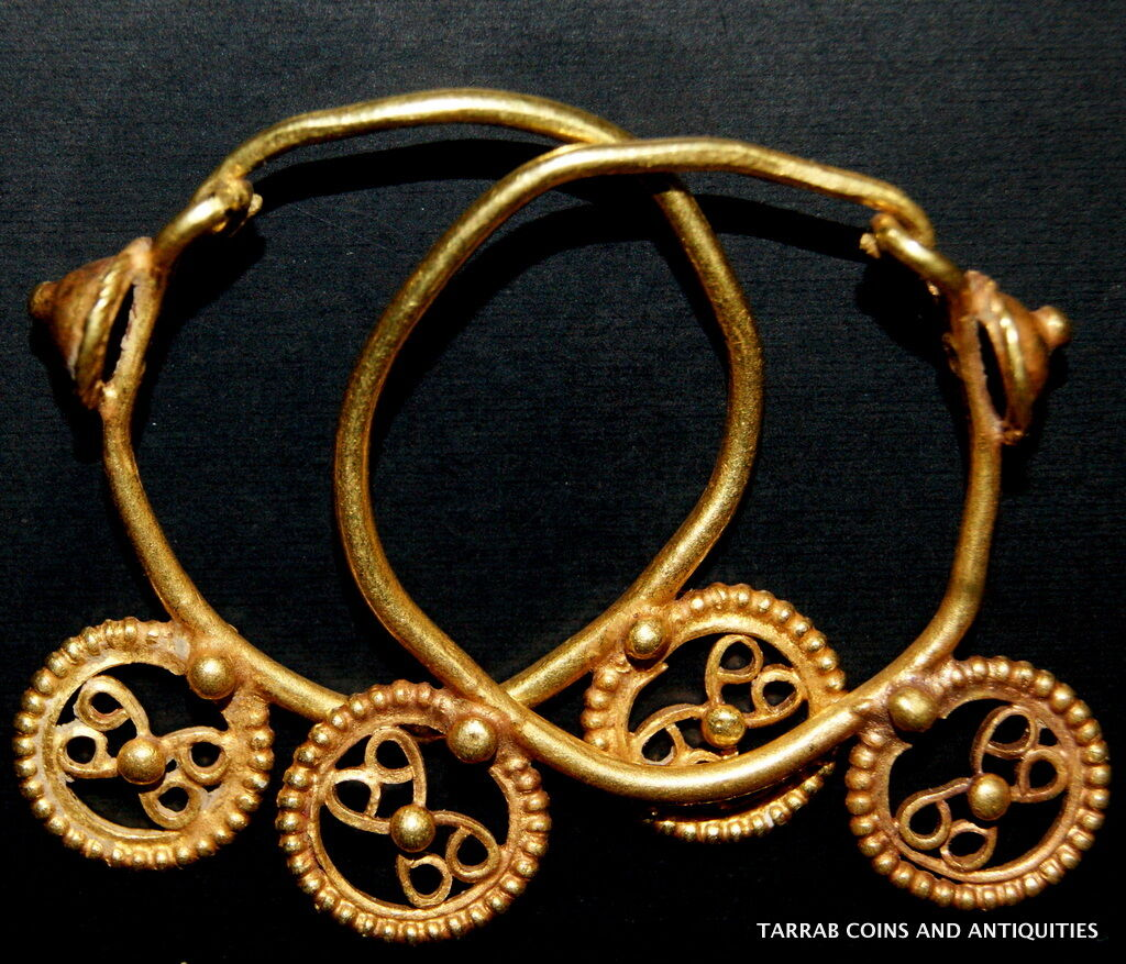 Ancient Roman-Byzantine Solid Gold Pair Of Open Work Earrings! Super Nice Pair!