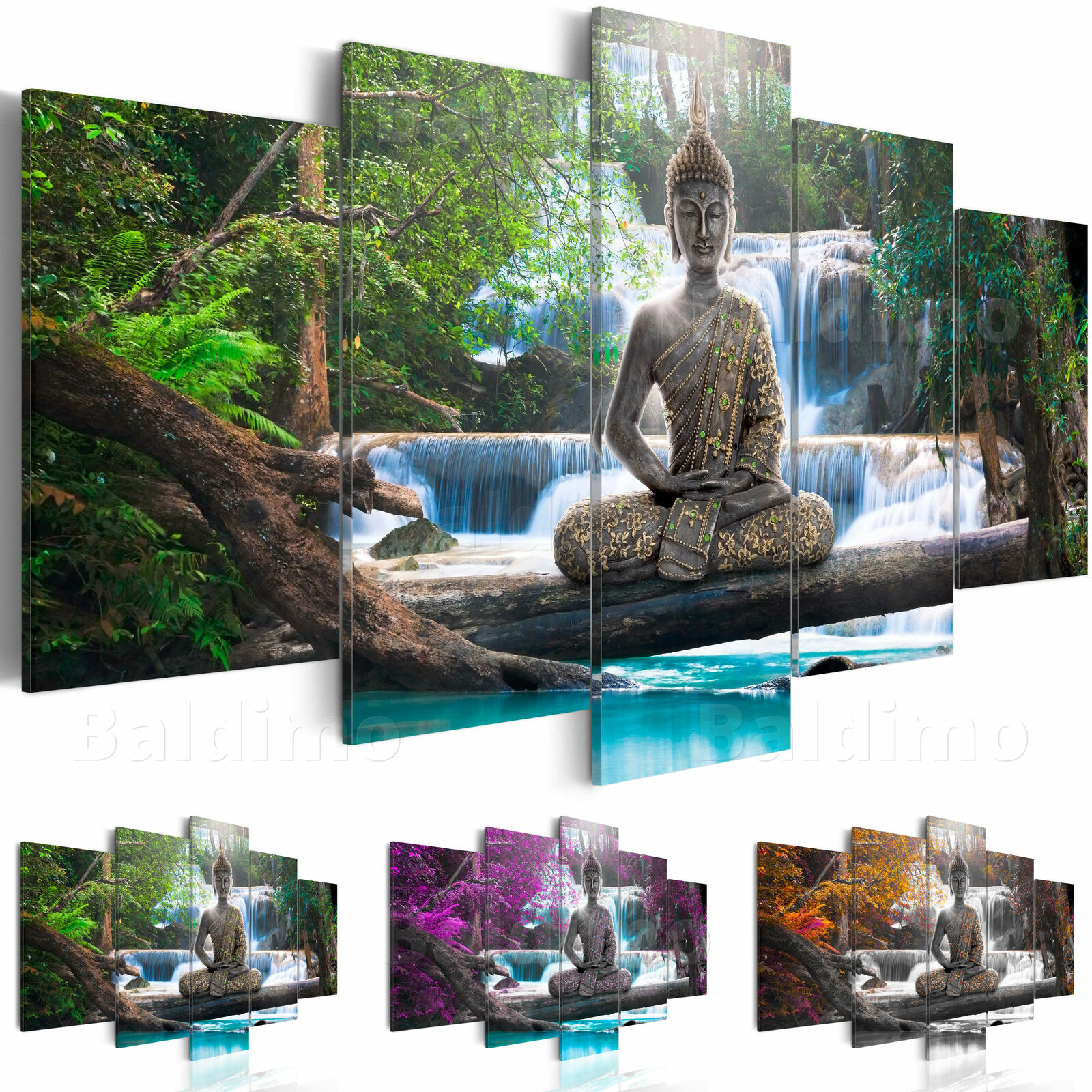 wandbilder xxl buddha wald wasserfall leinwand bilder wohnzimmer c a 0021 b n eur 24 90. Black Bedroom Furniture Sets. Home Design Ideas