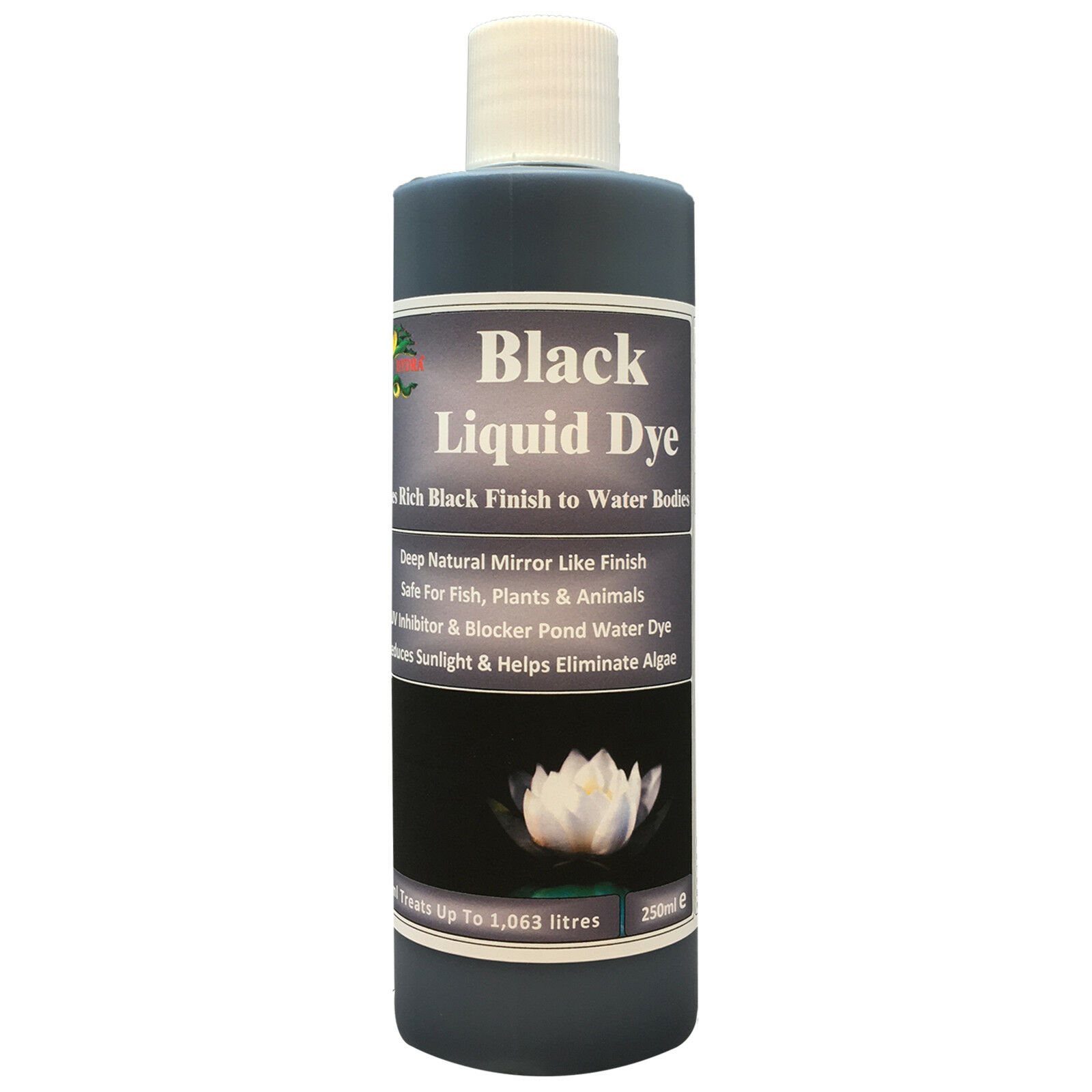 HYDRA BLACK LIQUID DYE 250ML Ponds Fountain Water Features Inhibits Algae Growth
