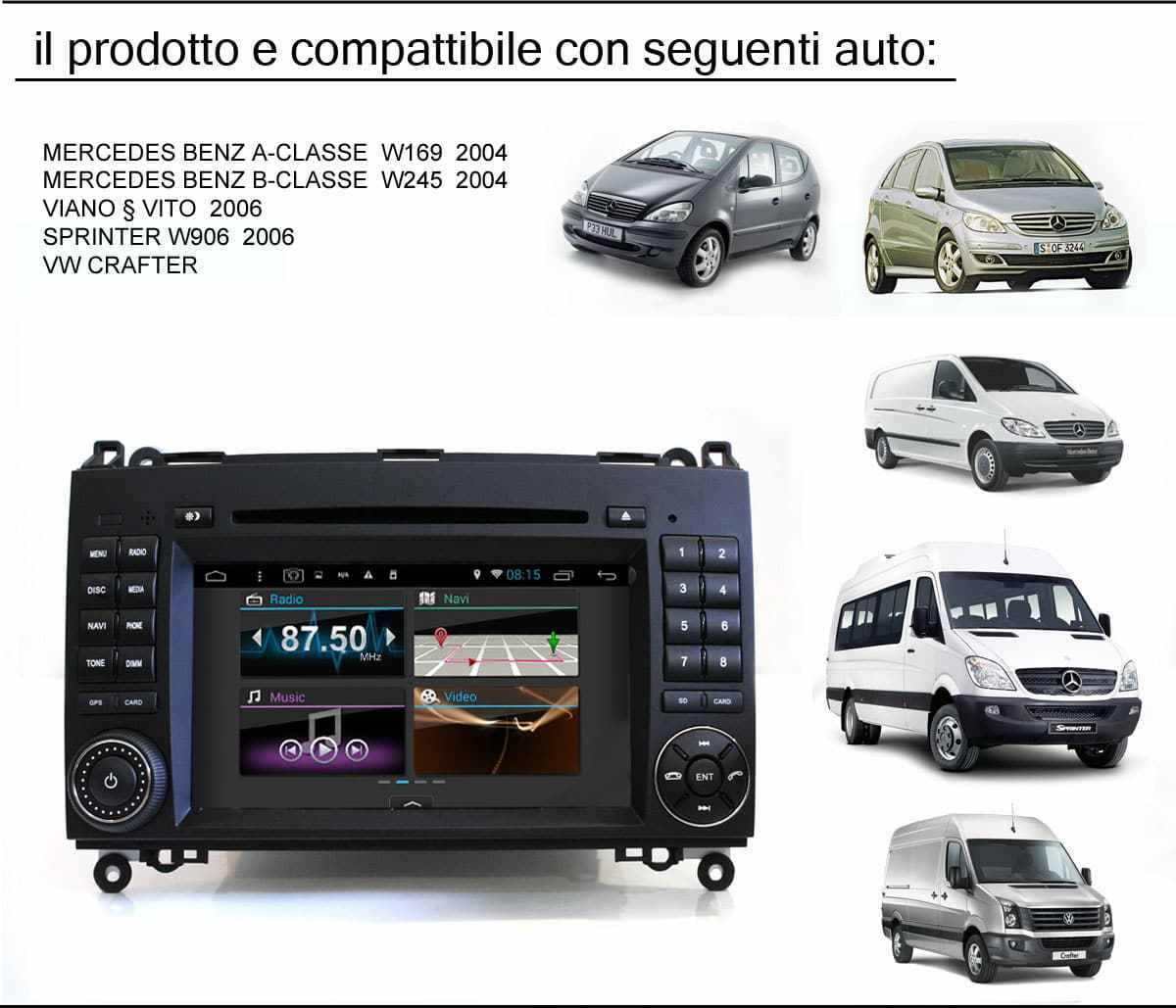 autoradio 2 din android touch dvd gps mercedes classe a b. Black Bedroom Furniture Sets. Home Design Ideas