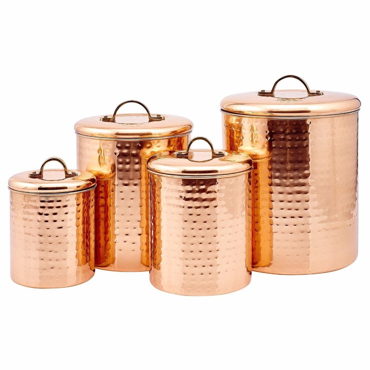 COPPER CANISTER SET Hammered Container Kitchen 4 Piece