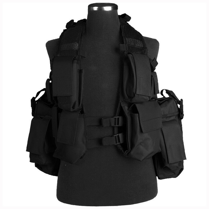 South African Army Tactical Military Assault Combat Vest Airsoft Paintball Black