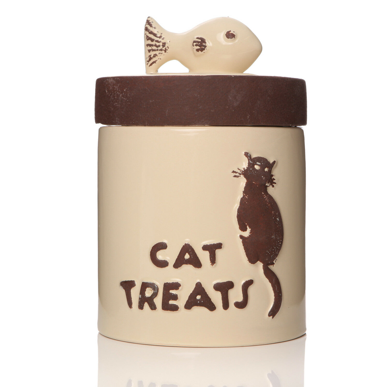 Cat Kitten Pet Food Dry Biscuit Treat Storage Container Canister Vintage Jar
