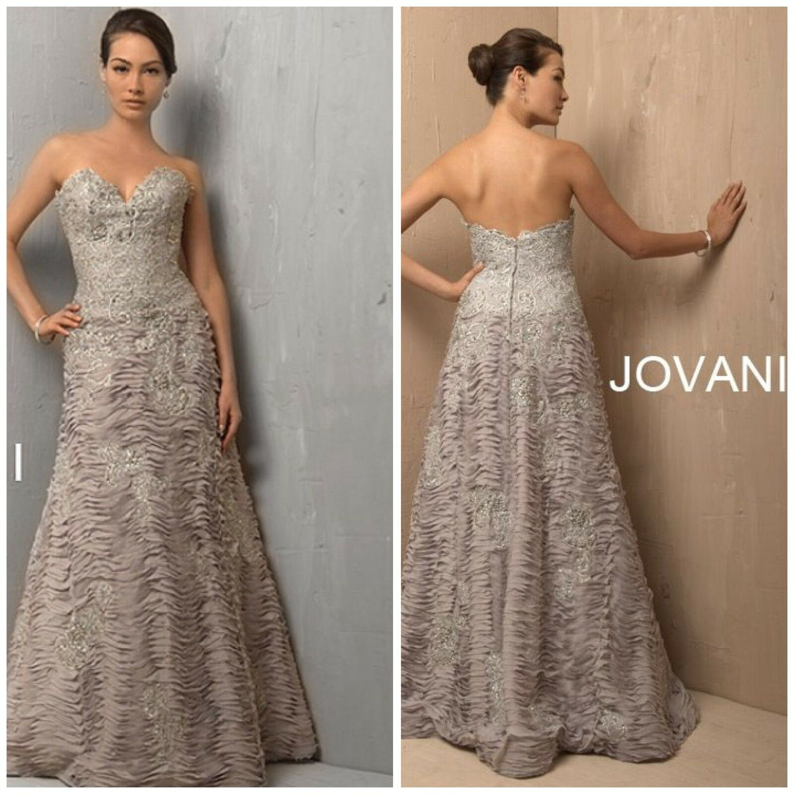 NWT JOVANI 2195 Lace Corset Gown With Roched Ballgown Skirt Platinum ...