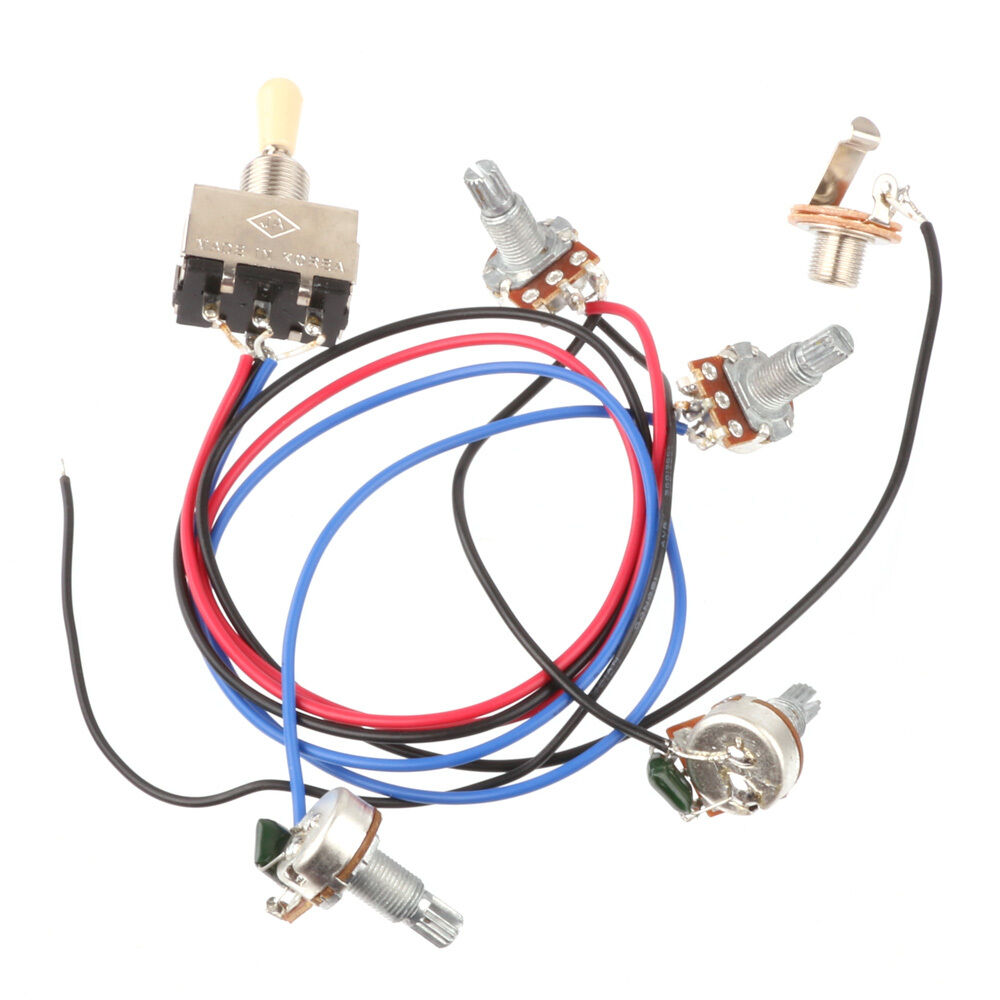 Wiring Harness 3 Way Toggle Switch 2v2t 500k Pots Jack Les Paul Lp Guitar Sg 1 Of