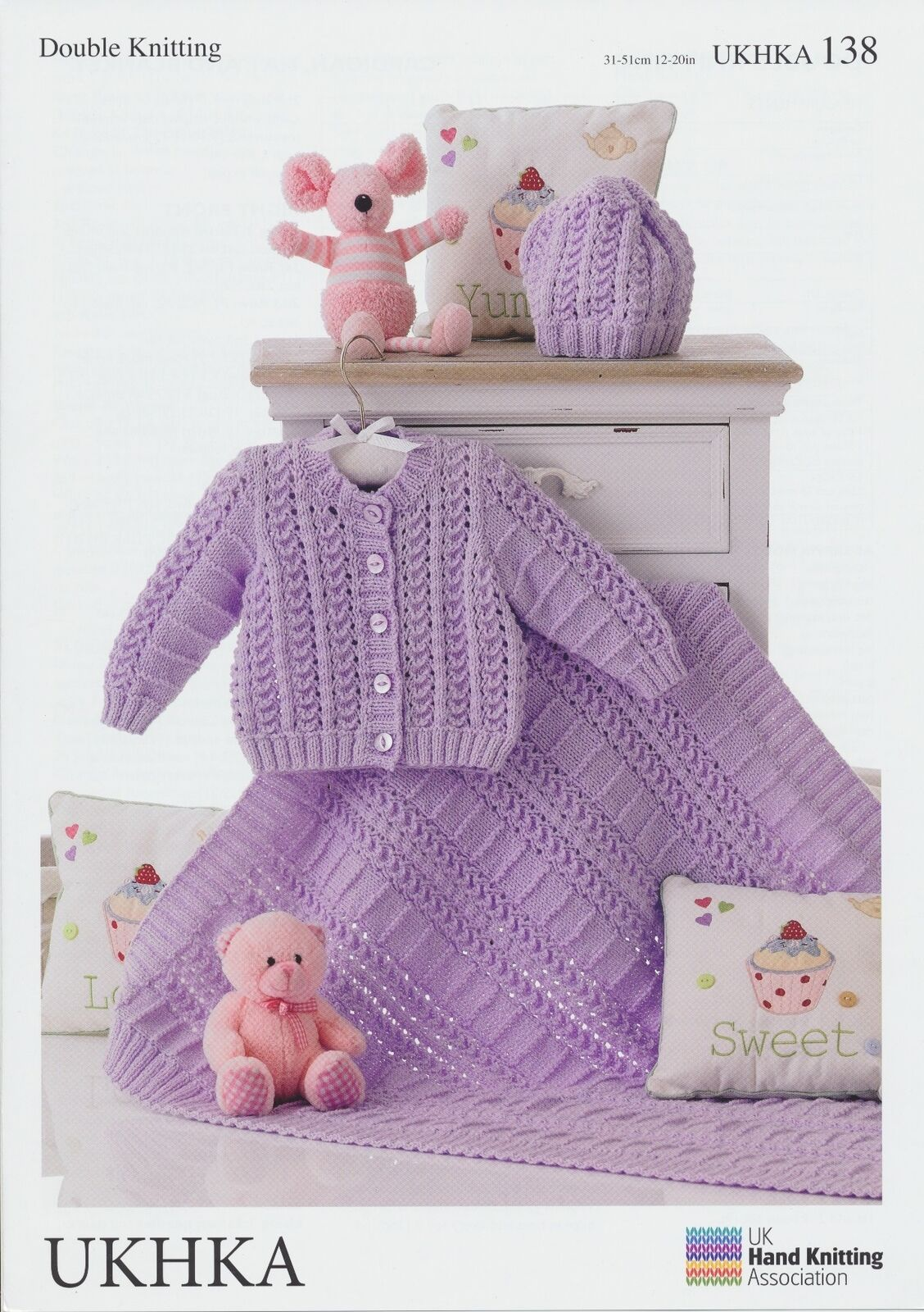 Knitting Pattern Baby Blanket Double Knitting : Double Knitting Pattern Baby Hat, Cardigan & Blanket UKHKA ...